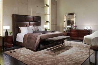 高端奢华奢华品牌家具卧室家具棕色真皮双人床系列组合