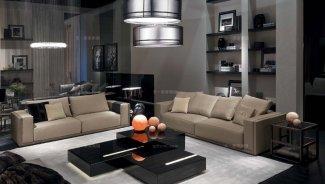 高端别墅客厅真皮沙发+茶几组合