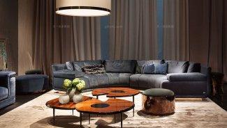 高端别墅优质绒布弧形沙发+茶几组合
