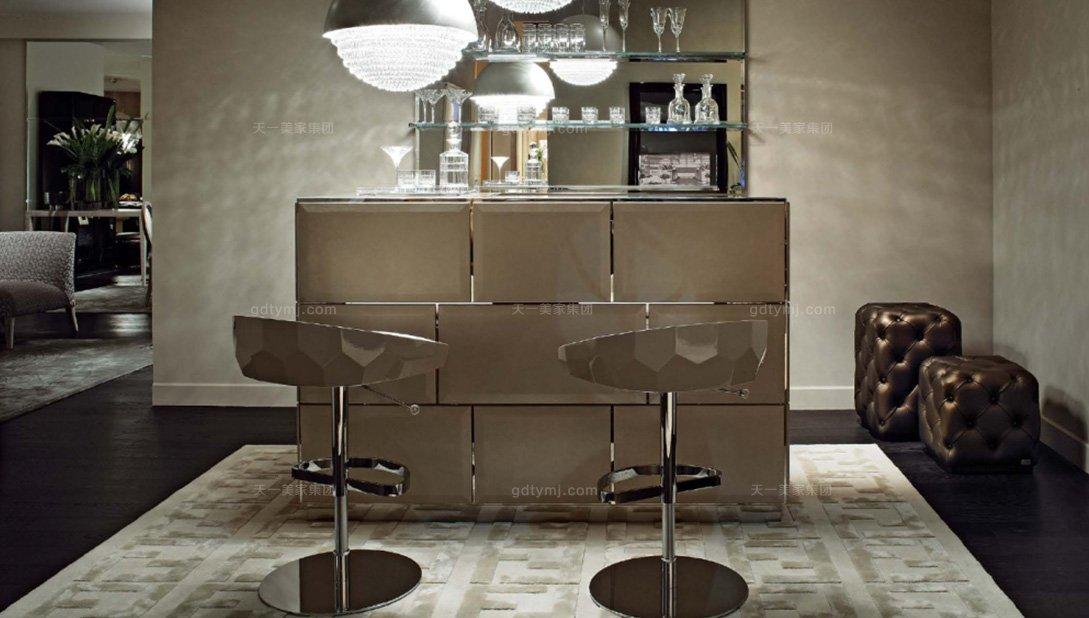 高端别墅现代奢华时尚吧台+吧椅组合