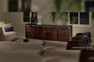 名贵别墅会所品牌家具客厅后现代奢实木电视柜