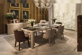 高端奢华别墅豪宅家具品牌餐厅家具米色实木餐桌椅组合