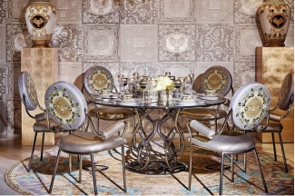高端别墅新古典客厅奢华餐桌餐椅组合