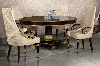 高端别墅欧式黑檀餐桌+手工镂空雕刻贴金箔餐椅组合