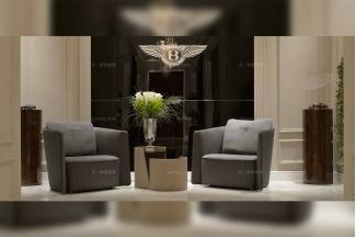 高端奢华别墅豪宅品牌家具宾利灰色布艺休闲沙发