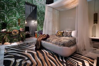 高端别墅奢华黑白纹时尚大床组合