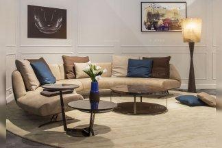 奢华别墅万博手机网页品牌客厅棕灰色轻奢后现代圆弧形转角沙发