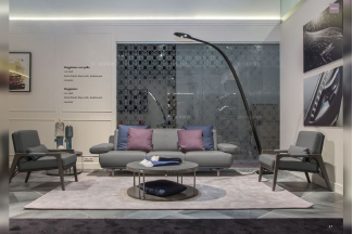 奢华大气豪宅家具品牌客厅轻奢现代铁灰色真皮软包沙发+茶几