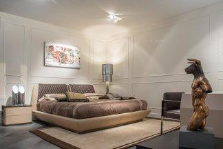 名贵奢华豪宅品牌家具兰博基尼卧室米黄色真皮大床+床头柜