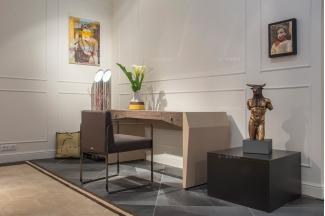 名贵奢华豪宅家具品牌兰博基尼卧室轻奢米黄妆台+妆椅