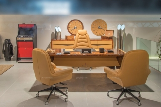名贵奢华豪宅别墅家具品牌兰博基尼爱马仕橙办公桌+真皮软包办公椅