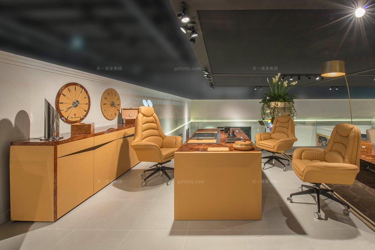 名贵奢华豪宅别墅万博手机网页品牌兰博基尼爱马仕橙办公桌+真皮软包办公椅