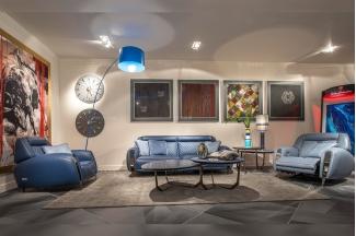 名贵奢华豪宅别墅家具品牌兰博基尼客厅蓝色真皮沙发