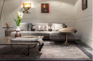 名贵豪华别墅万博手机网页品牌轻奢时尚现代灰色布艺软包组合沙发