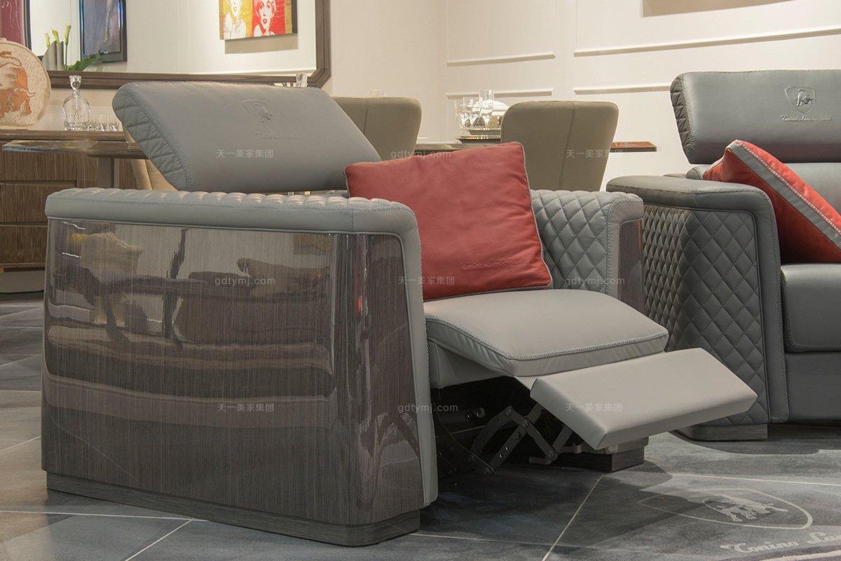 名贵奢华豪华家具品牌客厅轻奢现代灰色舒适功能真皮沙发组合车格子单品3