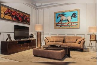名贵奢华万博手机网页品牌轻奢现代客厅棕色布艺软包沙发组合