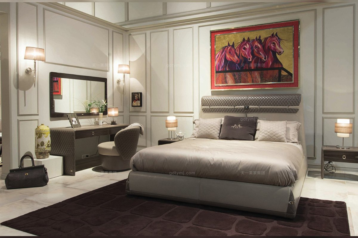 高端奢华豪宅家具品牌卧室轻奢真皮车格子大床+妆台椅