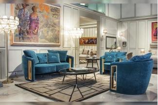 高端奢华会所家具品牌轻奢后现代客厅蓝色高弹海棉绒布艺软包双人位沙发