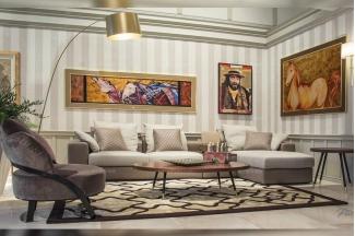 名贵奢华别墅品牌万博手机网页客厅轻奢现代米黄色真皮软包组合沙发