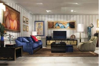 高端奢华时尚万博手机网页品牌客厅轻奢深蓝色布艺沙发+电视柜茶几组合