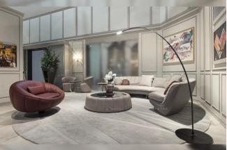 名贵奢华豪宅别墅家具品牌客厅轻奢米色真皮圆弧形沙发