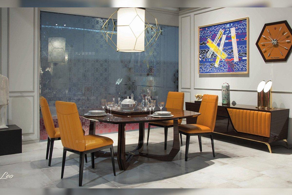 高昂奢华五星级酒店万博手机网页品牌餐厅轻奢时尚钢琴烤漆餐桌+真皮爱马仕橙餐椅