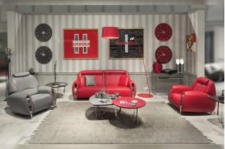 名贵豪华奢华家具品牌轻奢时尚客厅红色真皮车格子双人位沙发组合