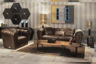 高端别墅豪华家具品牌客厅轻奢现代深咖色真皮车格子单双人位沙发组合
