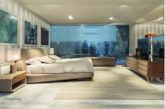 高端会所奢华家具品牌卧室现代米黄色真皮大床+床头柜