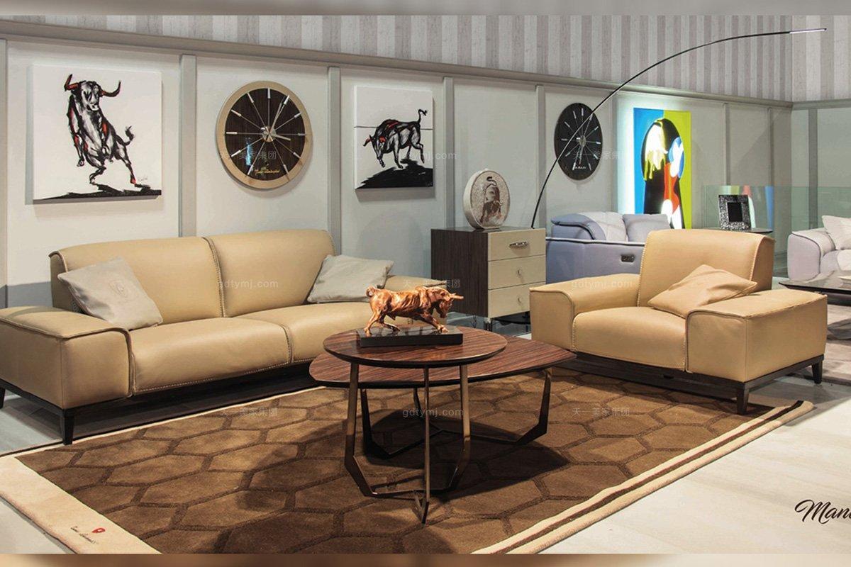 高端轻奢时尚万博手机网页品牌客厅现代米黄色高弹海棉真皮双人位沙发