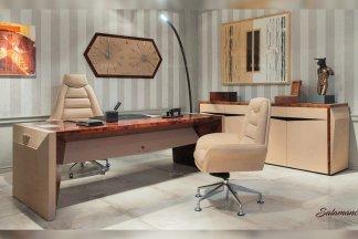 名贵轻奢别墅豪宅家具品牌书房时尚米黄办公真皮书桌椅组合