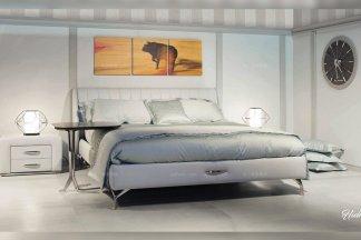 高端别墅豪华品牌家具卧室现代米白色优质不锈钢五金脚大床