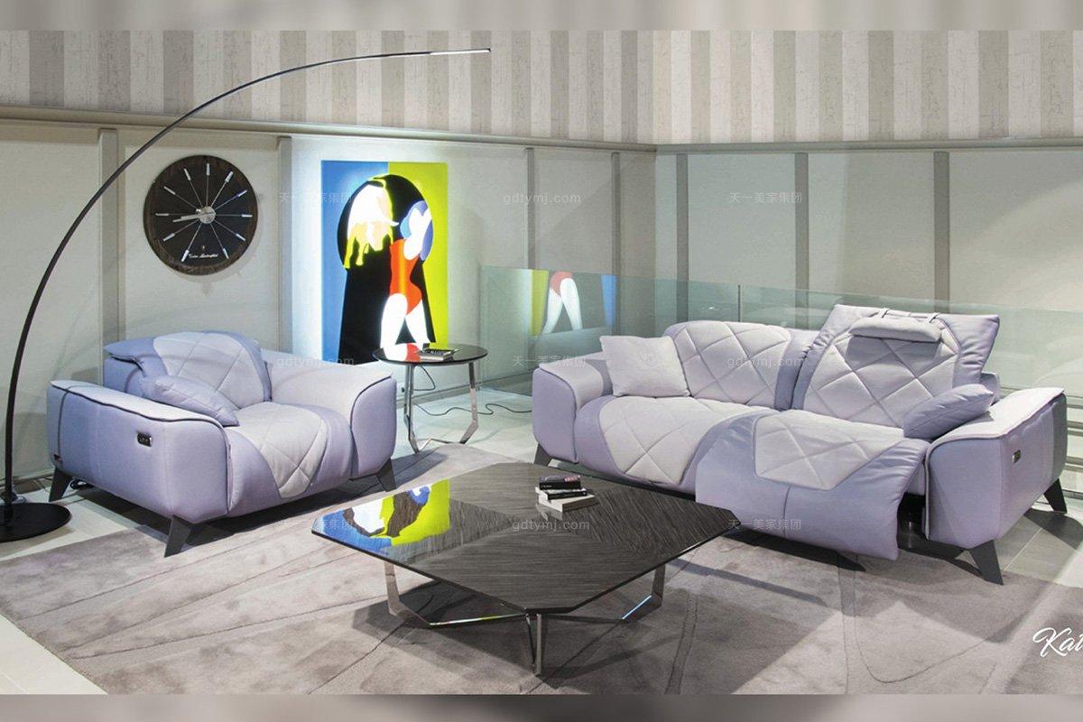 高端别墅轻奢万博手机网页品牌客厅现代时尚浅紫色布艺软包功能单双人位沙发
