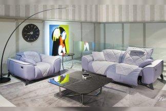高端别墅轻奢家具品牌客厅现代时尚浅紫色布艺软包功能单双人位沙发