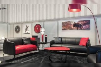 高端会所轻奢品牌家具客厅现代时尚黑色真皮软包1+2+3沙发组合