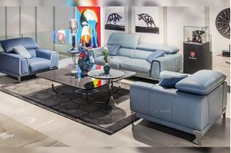 高端别墅轻奢万博手机网页品牌客厅后现代时尚浅蓝色真皮软包二人位沙发组合