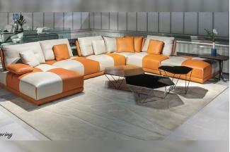 高端轻奢别墅家具品牌现代时尚客厅爱马仕橙组合沙发