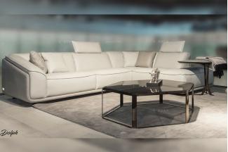 高端轻奢别墅豪宅家具品牌客厅现代时尚米白色真皮转角沙发