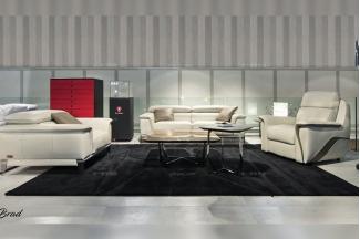 高端轻奢会所家具品牌现代时尚客厅米白真皮软包沙发组合