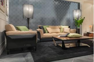 高端轻奢现代别墅万博手机网页品牌客厅米黄色时尚二人位沙发组合