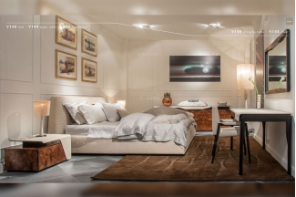 名贵高端轻奢别墅万博手机网页品牌卧室现代米白色时尚双人大床