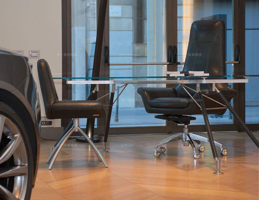 高端轻奢办公万博手机网页品牌书房现代时尚优质不锈钢五金脚真皮办公桌办公椅