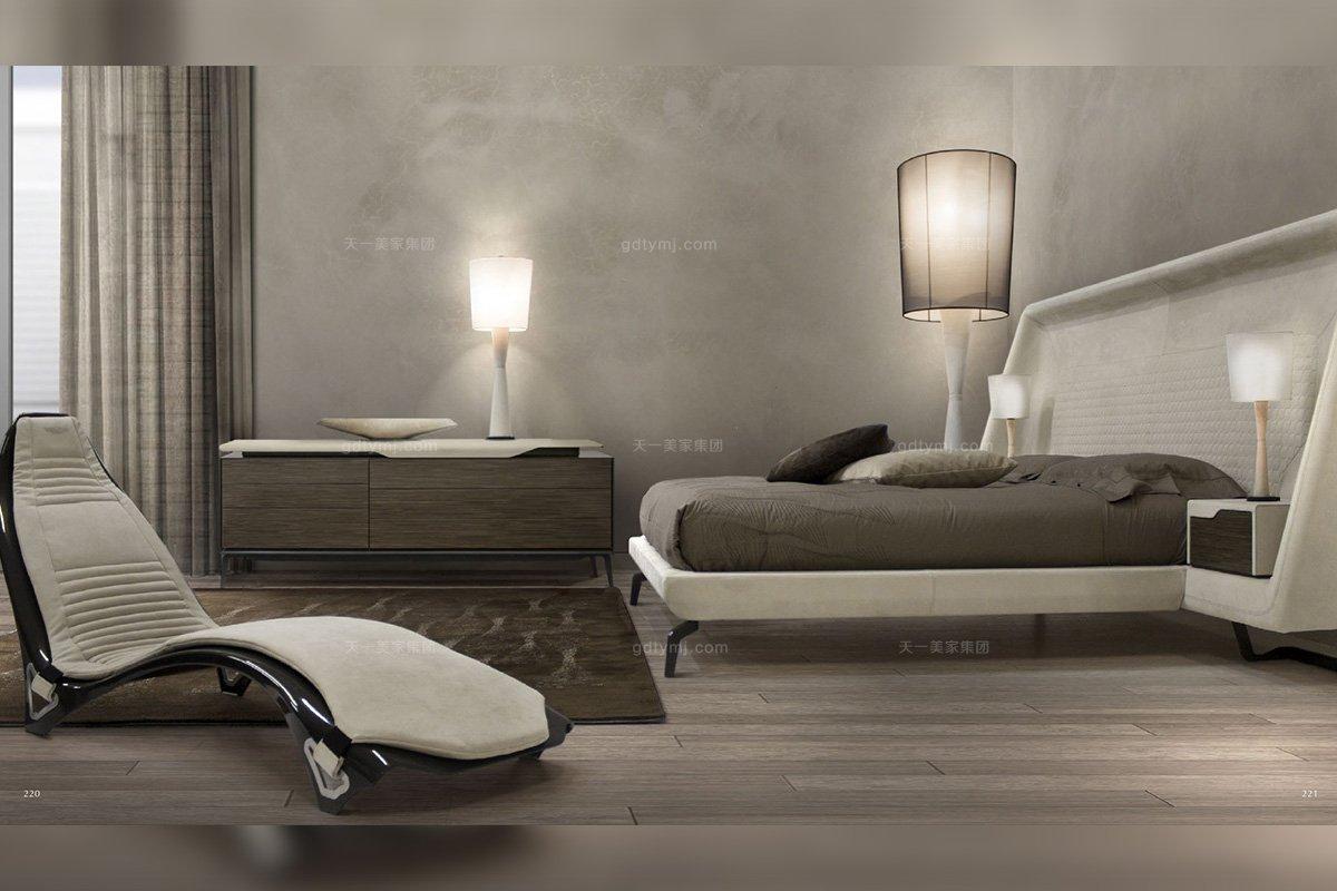 高端轻奢家具别墅品牌家具卧室现代时尚不锈钢五金脚大床