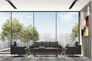 高端办公家具公司办公室时尚真皮黑色办公沙发组合