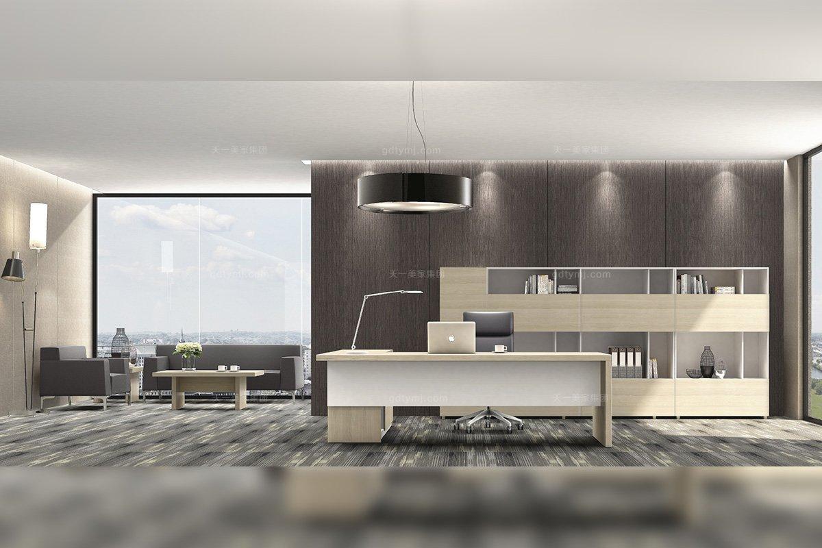 高端奢華公司辦公家具品牌時尚輕奢原木色實木辦公座椅書柜組合