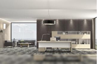 高端奢华公司办公家具品牌时尚轻奢原木色实木办公座椅书柜组合