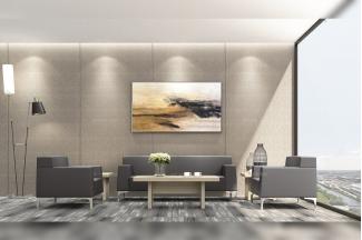 奢华高端办公家具品牌时尚轻奢办公室会客黑色真皮沙发组合