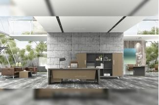 高端轻奢办公家具品牌公司时尚现代办公室实木真皮办公桌椅书柜组合