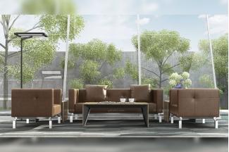 高端公司办公家具品牌时尚奢华现代办公室会客棕色真皮沙发组合