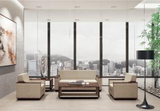 高端办公万博手机网页品牌现代时尚轻奢米黄色真皮实木会客办公沙发组合